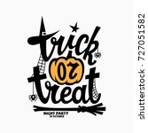 trick or treat lettering with a ... | Shutterstock .eps vector #727051582