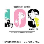 los angeles typography with... | Shutterstock .eps vector #727052752