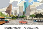 houston. texas. usa. hand drawn.... | Shutterstock .eps vector #727062826