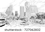 houston. texas. usa. hand drawn....   Shutterstock .eps vector #727062832