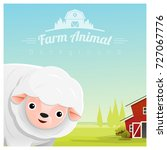 farm animal and rural landscape ... | Shutterstock .eps vector #727067776