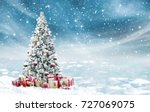 beautiful decorated snowed in... | Shutterstock . vector #727069075