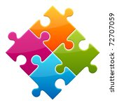 Colorful Shiny Puzzle Vector...