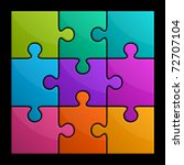 colorful shiny puzzle vector... | Shutterstock .eps vector #72707104