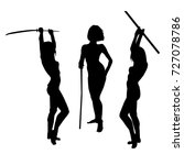 Silhouettes Of Warrior Girl...