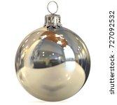 christmas ball silver chrome... | Shutterstock . vector #727092532