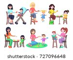 mothers feeding their children... | Shutterstock . vector #727096648