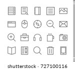 flat vector icons with a thin... | Shutterstock .eps vector #727100116
