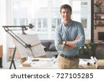 cheerful successful architect... | Shutterstock . vector #727105285