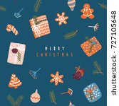 merry christmas card with... | Shutterstock .eps vector #727105648