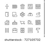 flat vector icons with a thin... | Shutterstock .eps vector #727105732