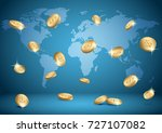 blue background with world map... | Shutterstock . vector #727107082