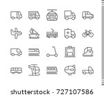 flat vector icons with a thin... | Shutterstock .eps vector #727107586
