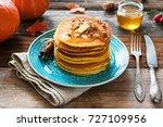 pumpkin pancakes with pecan... | Shutterstock . vector #727109956