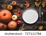 autumnal table setting for... | Shutterstock . vector #727111786