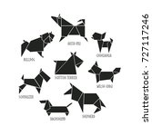 origami dogs icon set. abstract ... | Shutterstock .eps vector #727117246