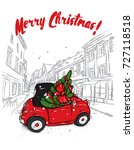 retro car with a christmas tree ... | Shutterstock .eps vector #727118518