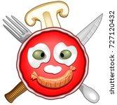 pizza fun party cartoon  | Shutterstock .eps vector #727120432