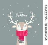 merry christmas card with cute... | Shutterstock .eps vector #727123498