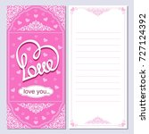 vertical pink card with heart.... | Shutterstock .eps vector #727124392