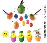 set of easter eggs  rabbit and... | Shutterstock .eps vector #72713611