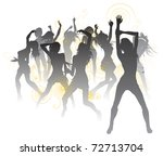 Background illustration with silhouettes of sexy beautiful women dancing - stock vector