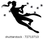 Female heroin leaping through the air in film style gunfight action sequence. - stock vector