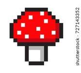 pixel art amanita mushroom... | Shutterstock .eps vector #727143352