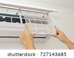 changing the filter in the air... | Shutterstock . vector #727143685