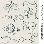 set of decorative calligraphy... | Shutterstock .eps vector #727144672
