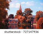 autumn day in brugge. trees... | Shutterstock . vector #727147936