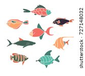 collection of stylized sea... | Shutterstock .eps vector #727148032