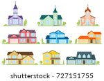set of flat icon suburban... | Shutterstock .eps vector #727151755