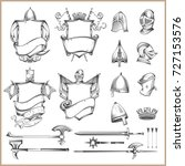 collection of vector heraldic... | Shutterstock .eps vector #727153576