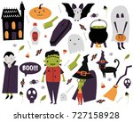 set for halloween. scary house  ... | Shutterstock .eps vector #727158928