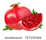 pomegranate isolated on white... | Shutterstock . vector #727159306