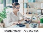 close up portrait of successful ... | Shutterstock . vector #727159555