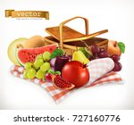 harvest fruits and berries.... | Shutterstock .eps vector #727160776
