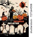 halloween characters set.... | Shutterstock .eps vector #727164508