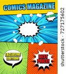 bright comics magazine cover... | Shutterstock .eps vector #727175602