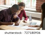 african american man signing... | Shutterstock . vector #727180936