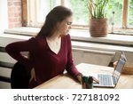 young tired female office... | Shutterstock . vector #727181092
