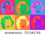 marilyn monroe colored vector... | Shutterstock .eps vector #727181755