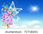 flowers and  butterflies  in...