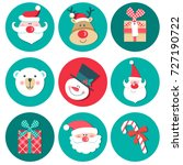 set of christmas symbols  ... | Shutterstock .eps vector #727190722