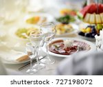 beautiful table set with three... | Shutterstock . vector #727198072