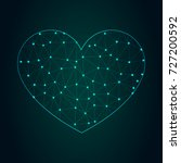 heart icon   with glowing point ... | Shutterstock .eps vector #727200592