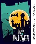 halloween poster template. | Shutterstock .eps vector #727209658