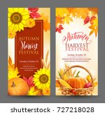 banners for autumn harvest... | Shutterstock .eps vector #727218028