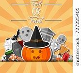 halloween banner with flat... | Shutterstock . vector #727225405